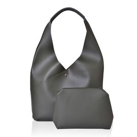 2 Piece Set - Dark Green Colour Handbag (Size 34X25.5X10.5 Cm) and Pouch (Size 23X20X6 Cm)