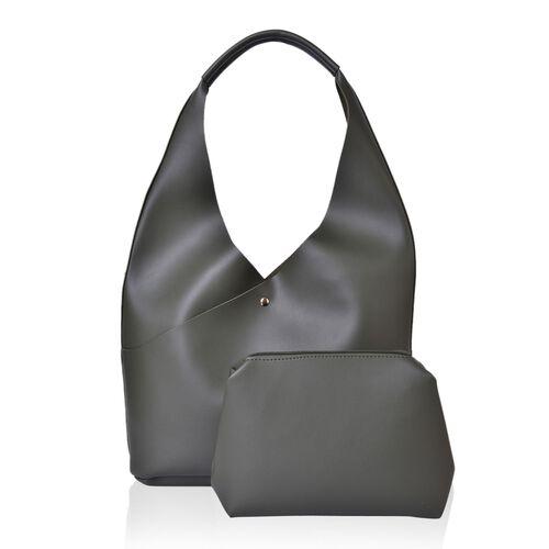 2 Piece Set - Dark Green Colour Handbag (Size 34X25.5X10.5 Cm) and Pouch (Size 23X20X6 Cm)