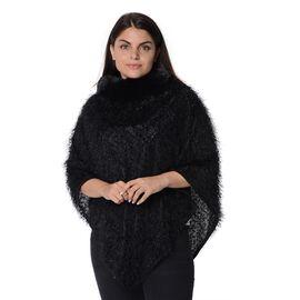 Winter Poncho with Faux Fur Collar (Size 83x97 Cm) - Black