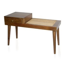 Home Decor Mango Wood Bench with Hand Woven Natural Rattan and Drawer (Size 88X38X54 cms)