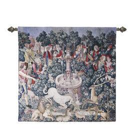 Signare Tapestry - Wall Hanging - The Hunt of the Unicorn (Size 100x100 Cm)