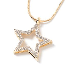 White Austrian Crystal (Rnd) Star Necklace (Size 20) in Yellow Gold Plated