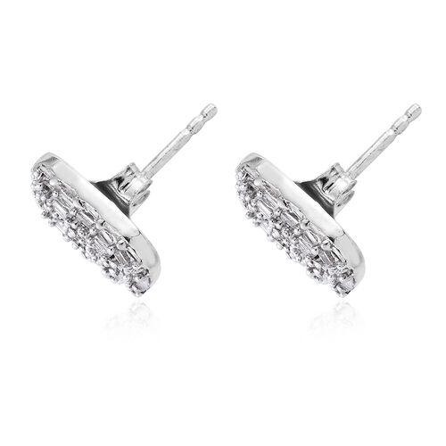 GP Diamond (Bgt), Kanchanaburi Blue Sapphire Stud Earrings (with Push Back) in Platinum Overlay Sterling Silver 0.530 Ct. Number of Diamonds 104.