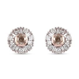 9K Rose Gold SGL Certified Natural Champagne Diamond and White Diamond (I3/ G-H) Earrings 0.550 Ct.