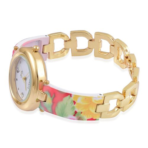 STRADA Japanese Movement Red and Multi Colour Floral Pattern Watch in Yellow Gold Tone with Stainless Steel Back