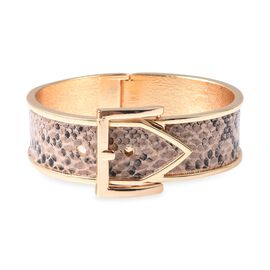 Belt Buckle Snake Skin Embossed Design Bangle (Size 6.5 - 7.25 Adjustable) in Yellow Gold Tone