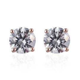 J Francis Made with SWAROVSKI ZIRCONIA Solitaire Stud Earrings in Rose Gold Plated Silver
