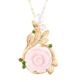 Pink Mother of Pearl (8.50 Ct),Fresh Water Pearl ,Russian Diopside Sterling Silver Pendant With Chai