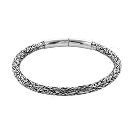 Royal Bali Collection - Sterling Silver Braided Bangle (Size 8), Silver wt 28.00 Gms