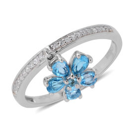 1.34 Ct Swiss Blue Topaz and Cambodian Zircon Stacker Ring in Rose Gold Plated Sterling Silver