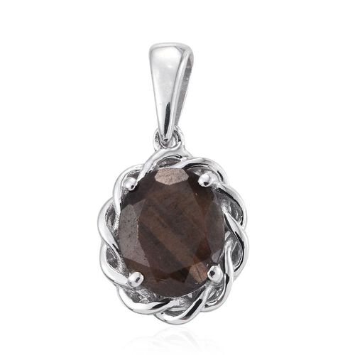 Natural Zawadi Golden Sheen Sapphire (Ovl) Solitaire Pendant in Platinum Overlay Sterling Silver 3.250 Ct.