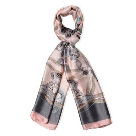 Designer Inspired-Peach Colour Ornament  Chain Pattern Scarf (Size 180x87 Cm)