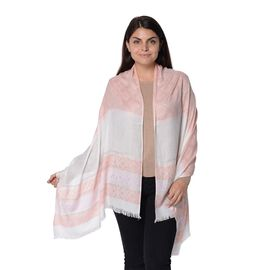 Pink Colour Geometry Pattern Scarf with Crystal (Size 70x180 Cm)
