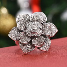 1.50 Carat Diamond Floral Ring in Platinum Plated Sterling Silver 11.56 Grams