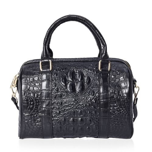 100% Genuine Leather Croc Embossed Tote Bag (Size 27x14x19 Cm) - Black and Teal
