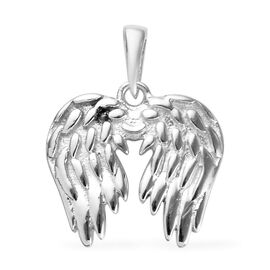 Platinum Overlay Sterling Silver Angel Wing Pendant