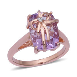 Rose De France Amethyst (Cush 14x10 mm), Natural White Cambodian Zircon Bow Knot Ring in Rose Gold O