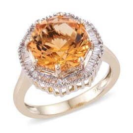 WEBEX- 9K Yellow Gold AA Citrine (Oct 3.700 Ct) Diamond Solitaire Ring 4.000 Ct.