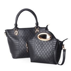 Set of 2- Black Colour Diamond Pattern Large Tote Bag (Size 40x30x27x14 Cm) and Middle Size Satchel Bag (Size 32x22x20x9 Cm) with Removable Shoulder Strap and External Zipper.