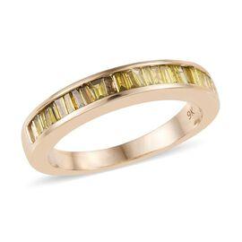 9K Yellow Gold Diamond (Bgt) Half Eternity Band Ring 0.50 Ct.
