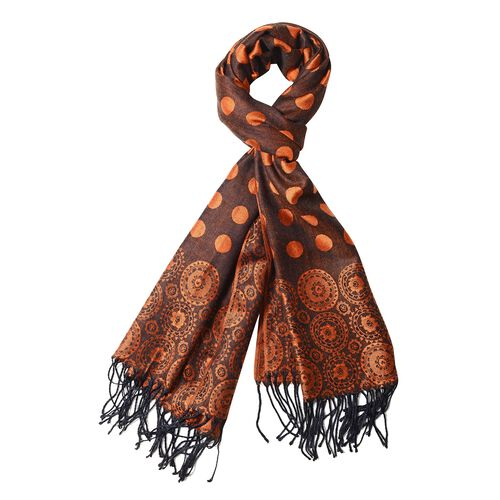 Orange Colour Scarf with Dot and Small Flower Pattern (Size 180x68 Cm)