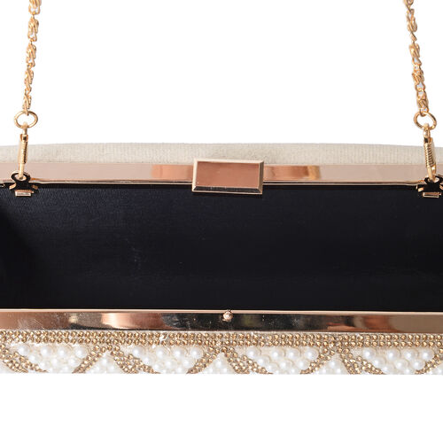 Luxe White Glass Pearls and Yellow Crystal Embellished Clutch Bag (Size 21x11x4 Cm)