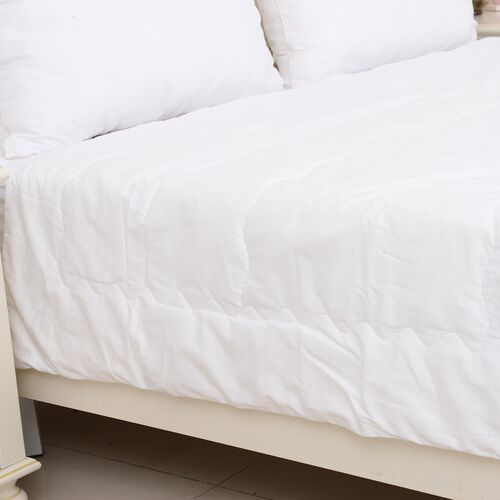 Super Auction - 100% Mulberry Silk Filled Duvet in King Size (220x225 cm) - White