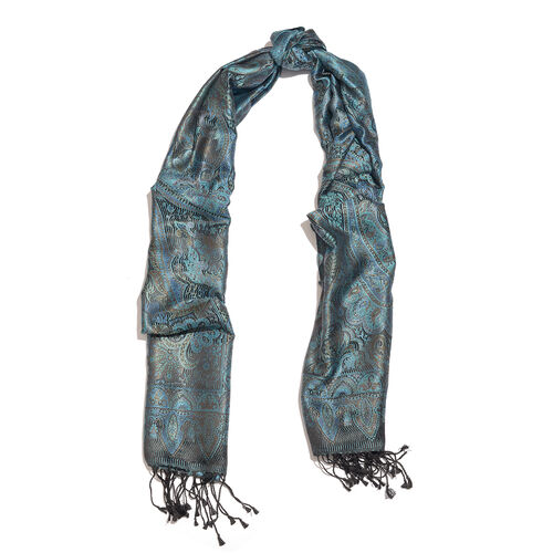 SILKMARK - 100% Superfine Silk Turquoise, Brown and Multi Colour Paisley Pattern Jacquard Jamawar Scarf with Tassels (Size 180X70 Cm)