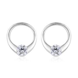 J Francis Made with Swarovski Zirconia Solitaire Stud Earrings in Sterling Silver