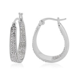 Austrian Crystal Hoop Earrings (with Clasp) in Silver Plated