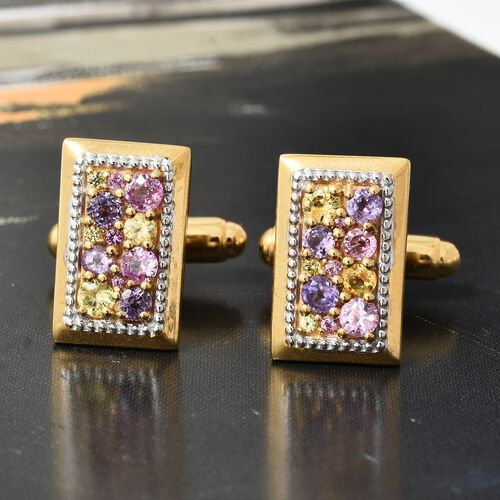 Rainbow Sapphire (Rnd) Cufflinks in 14K Gold Overlay Sterling Silver 2.000 Ct. Silver wt. 10.29 Gms