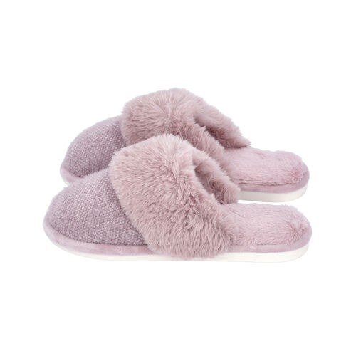 Knitted Chenille Slippers with Faux Fur (Size M: 5-6) - Light Purple