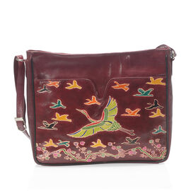 100% Genuine Leather RFID  Burgundy Colour Handpainted Flamingo Pattern Crossbody Bag with Adjustable Strap (Size 30x24x6 Cm)