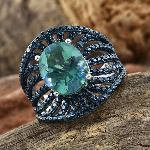 Peacock Quartz (Ovl 4.75 Ct), Blue Diamond (0.25 Ct.)Ring in Platinum Overlay Sterling Silver 5.000 Ct. Silver wt 7.80 Gms.