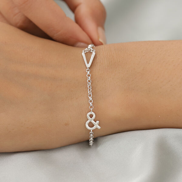 Personalised Single Alphabet + &,Name Bracelet in Silver, Size - 7.5 Inch