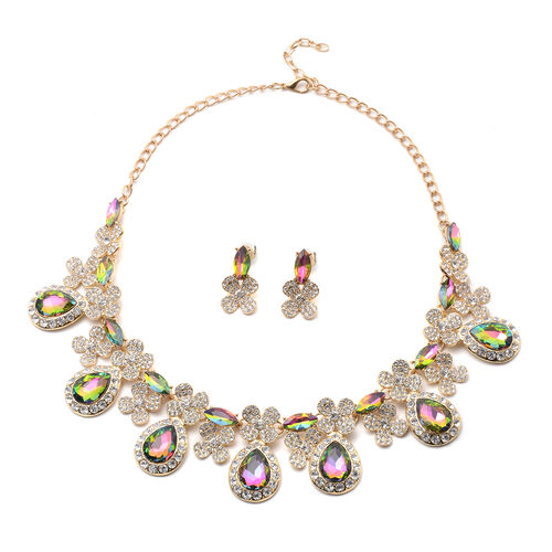 2 Piece Set - Simulated Mystic Topaz and White Austrian Crystal Drop Earrings and Adjustable Necklac