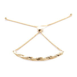 Royal Bali Collection Diamond Cut Adjustable Bolo Bracelet in 9K Gold 7.5 Inch