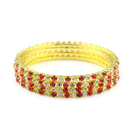 One Time Close Out - 4 Piece Set Simulated Ruby and Diamond (Rnd) Bangle (Size 7) in Yellow Gold Ton
