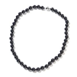 One Time Deal-Boi Ploi Black Spinel (Rnd Beads) Necklace (Size 20) with Magnetic Lock in Rhodium Ove