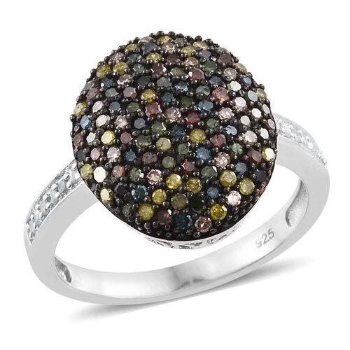Designer Inspired- Multi Colour Diamond (Rnd) Cocktail Ring in Platinum Overlay Sterling Silver 1.010 Ct.