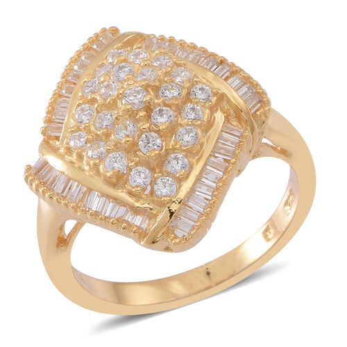 ELANZA AAA Simulated Diamond (Rnd) Ring in Yellow Gold Overlay Sterling Silver