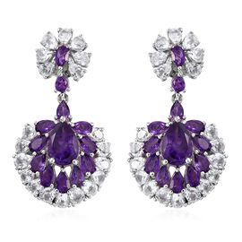 Lusaka Amethyst (Pear), White Topaz Earrings (with Push Back) in Platinum Overlay Sterling Silver 16