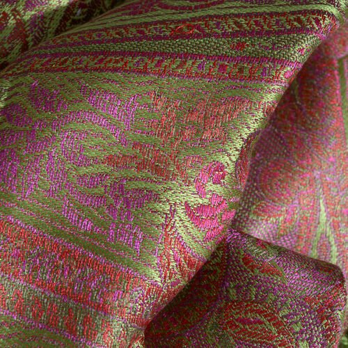 SILK MARK- 100% Superfine Silk Lime, Pink and Multi Colour Jacquard Jamawar Scarf with Fringes (Size 190x70 Cm)