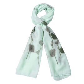 Light Green Colour Flower Pattern Scarf (Size 180x70 Cm)