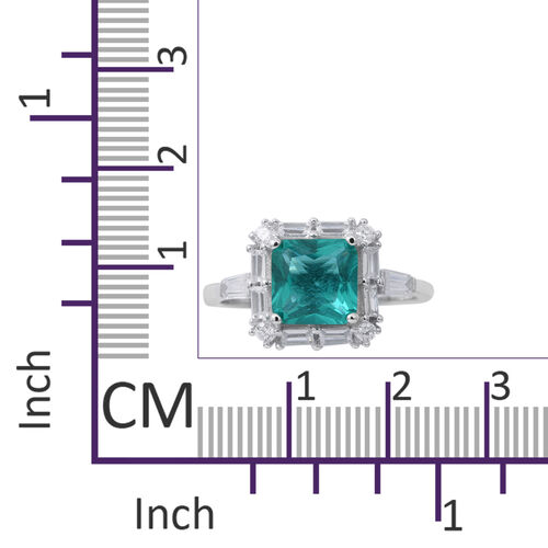 Designer Inspired- ELANZA Simulated Paraiba Tourmaline ( Princess Cut 8mm), Simulated White Diamond Ring in Rhodium Plated Sterling Silver