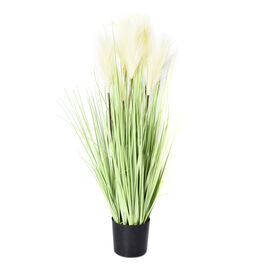 Artificial Decorative 5 Head Reed Grass with Vase (Size 10x80 cm) - Green
