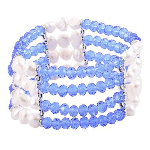 Fresh Water White Pearl and Simulated Tanzanite Stretchable Bracelet (Size 7) in Silver Tone