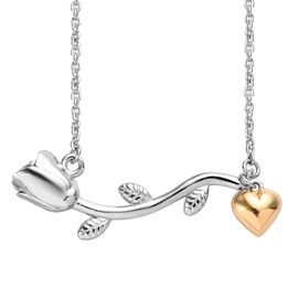 Platinum and Yellow Gold Overlay Sterling Silver Rose Heart Necklace (Size 18), Silver wt 5.70 Gms