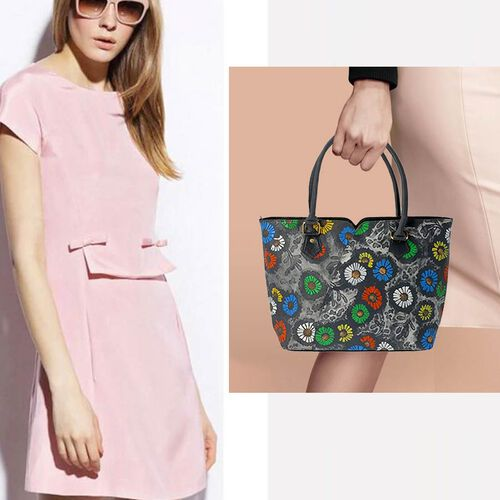 100% Genuine Leather Colourful Flowers Pattern Shoulder Bag (Size 29x10x26 Cm) - Grey