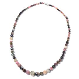 Multi-Tourmaline (Rnd) Necklace (Size 18) in Rhodium Overlay Sterling Silver 140.00 Ct.